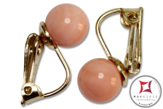 Extra Pink Coral Earrings 7-7¾mm in Gold 18K clip [various diameters]