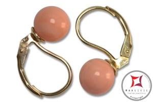 Extra Pink Coral Earrings 7-7¾mm in Gold 18K mmp[various diameters]
