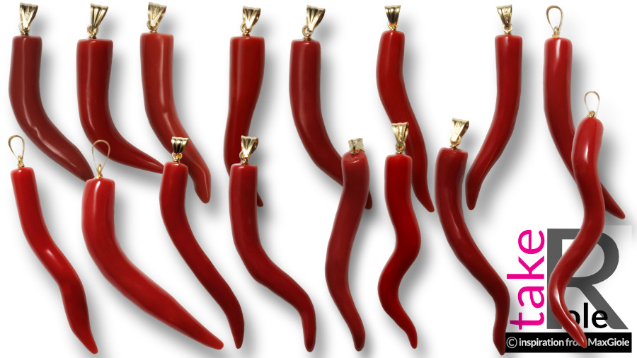 New Collection Set9 Mediterranean red Coral medium lucky horn neapolitan design in Gold 18K