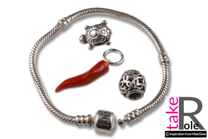 Red Coral small horn pandora compatible charm