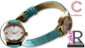 Corallium Watch 20mm Swiss movement with coral id08m