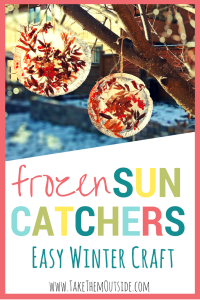 These frozen sun catchers are beautiful and easy winter crafts for kids | #kidscrafts #winter #easycraft #natureactivity