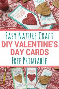 Easy Valentine's Day Nature Craft Cards | #valentinesday #diyvalentines #naturecraft #printablevalentinescards #printablecraft