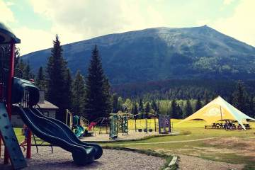 Playground at Whistlers Campground with Whistlers Mountain in the background