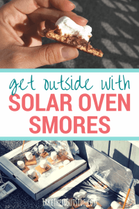 melted marshmallow and chocolate being cooked in homemade pizza box solar ovens. text reads get outside with solar oven smores