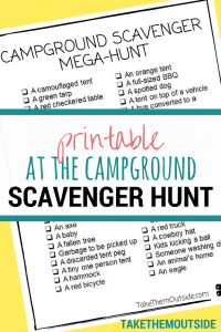 An image of a camping scavenger hunt, text reads at the campground scavenger hunt