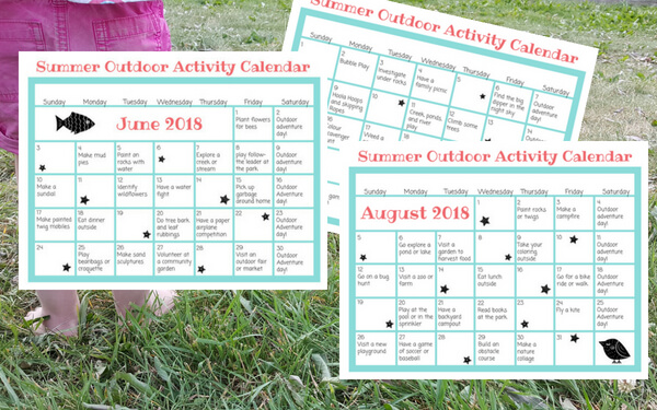 Image of printable summer planner calendars with grass in the background