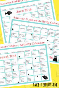 Image of printable summer activity calendars