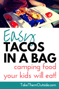 a white tray with an open bag of Doritos made into tacos in a bag, text reads easy tacos in a bag, camping food your kids will eat
