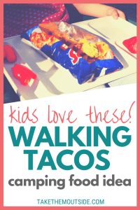a white tray with an open bag of Doritos made into walking tacos, text reads kids will love these walking tacos