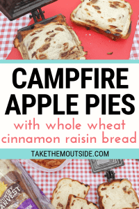 images of making toasted apple pies while camping
