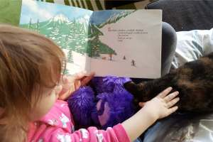 a toddler reading a picture book about skiing