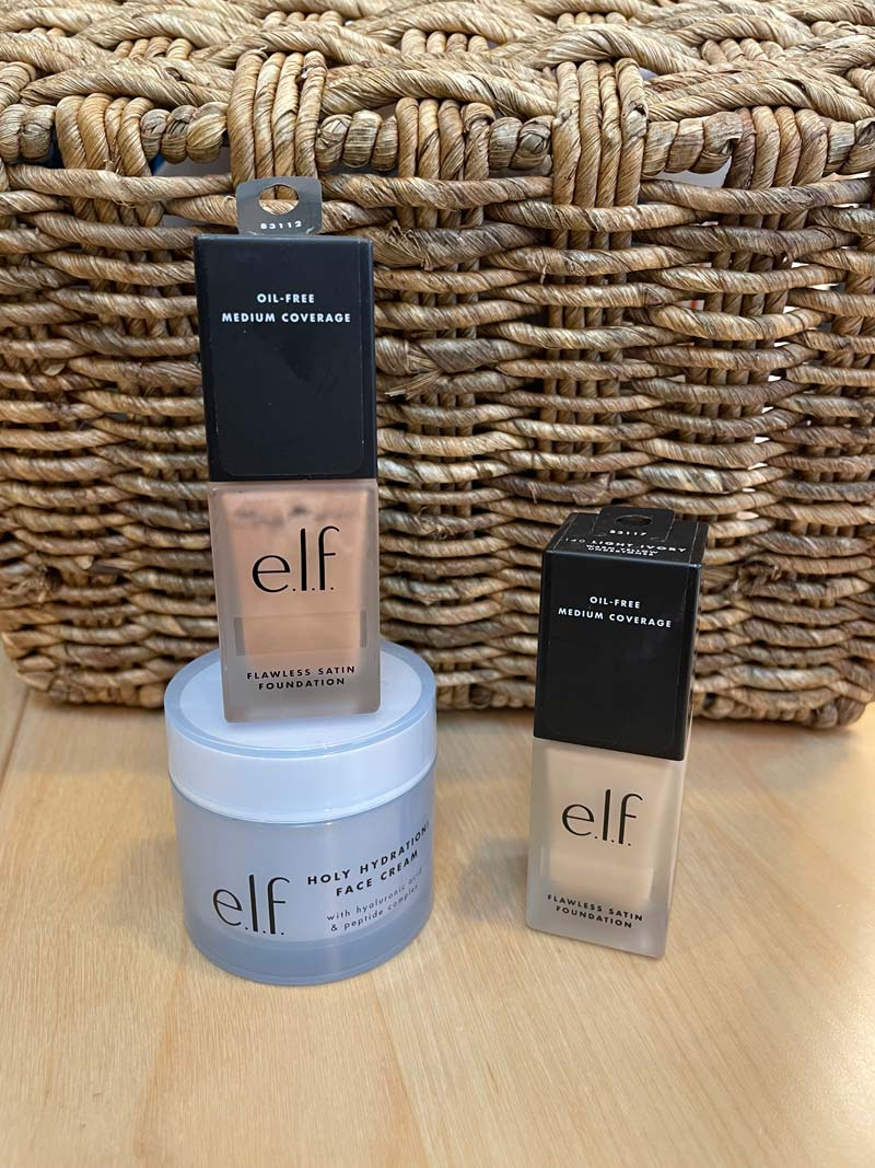 Trio of e.l.f. products: Holy Hydation face cream and Flawless Satin Coverage Foundation in Light Ivory and Sand