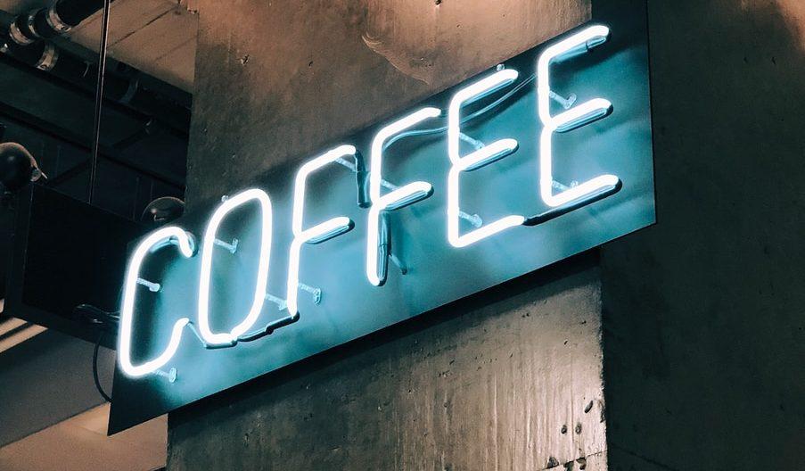 A white Coffee LED signage