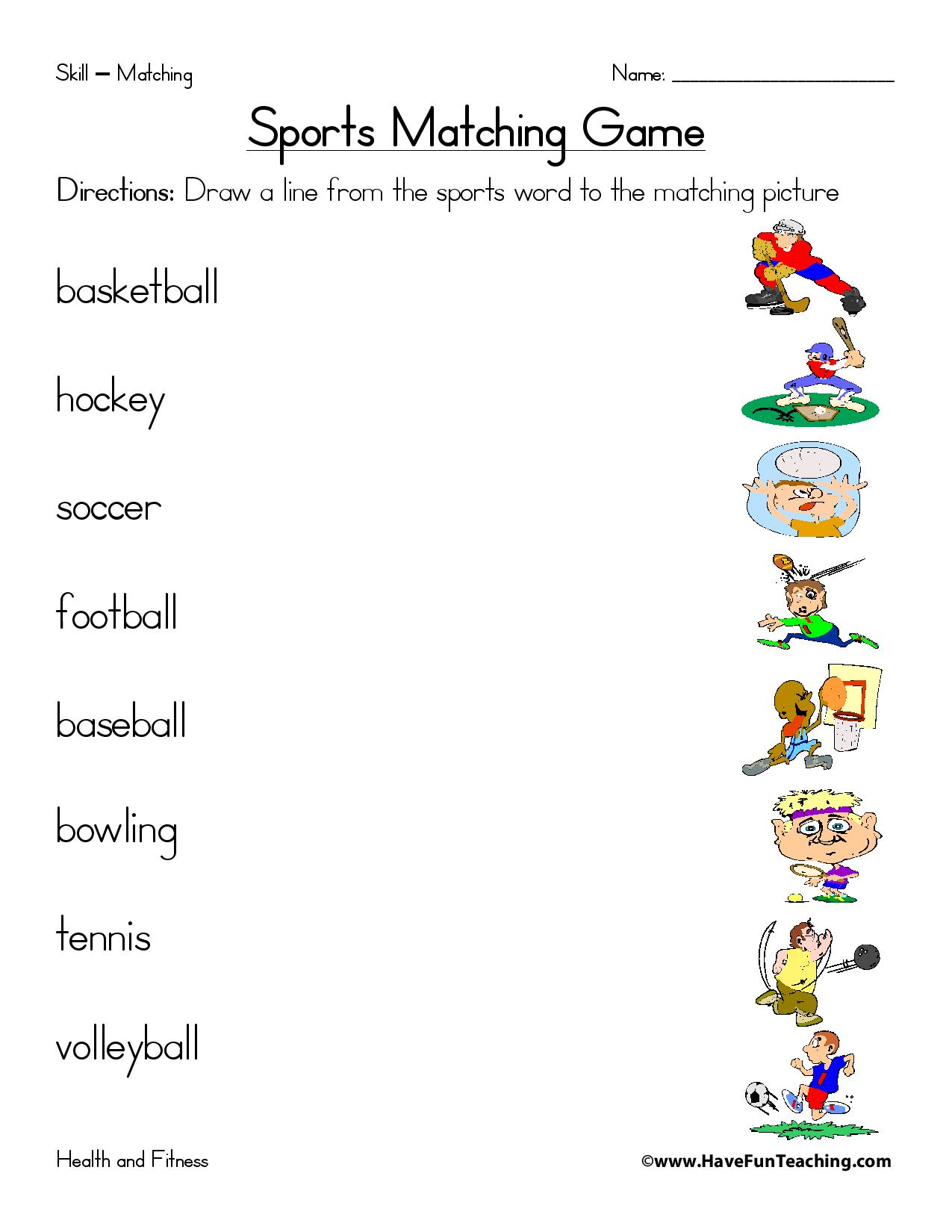 Sports Matching Worksheet Page 001
