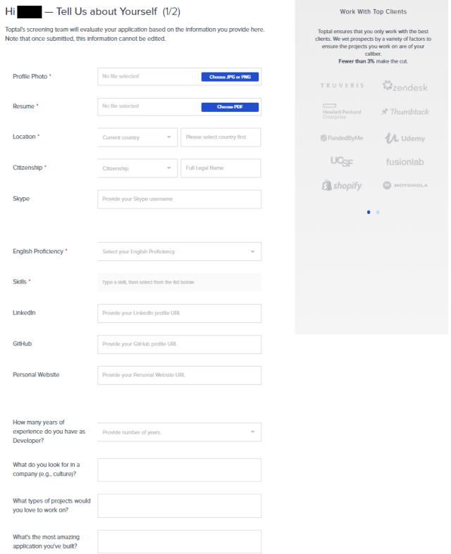 toptal application form