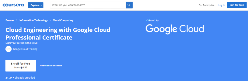 Cloud Engineering with Google Cloud Professional Certificate