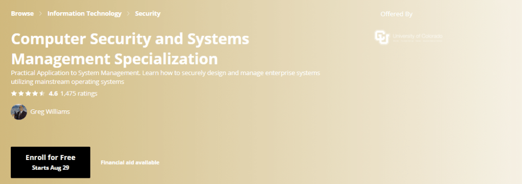 Computer Security and Systems Management Specialization: