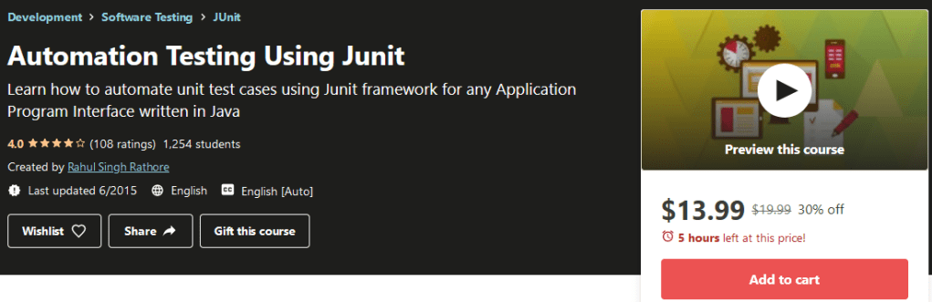 Automation Testing Using Junit Course