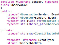 Code snippet with Observable class