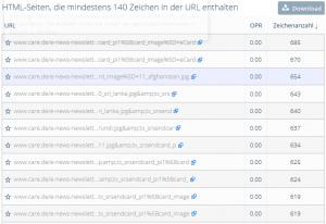 Übersicht URLs mit mindestens 140 Zeichen OnPage.org