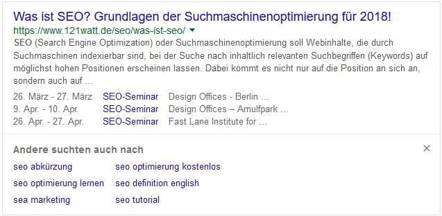 """Beispiel: """"Andere suchten auch""""-Box mit dem Suchbegriff """"SEO"""""""