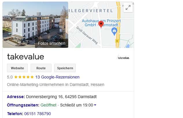 Google Rich Snippet für ein Unternehmen - takevalue Consulting GmbH