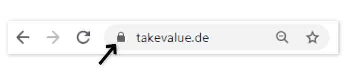 Der Browser zeigt ein kleines Schloss neben der Adresszeile, wenn eine Webseite mit HTTPS Verschlüsselung aufgerufen wird.