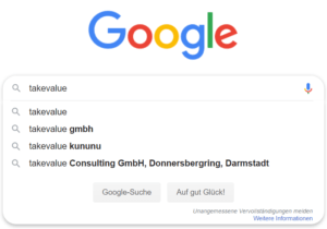 Google Suggest zum Keyword takevalue