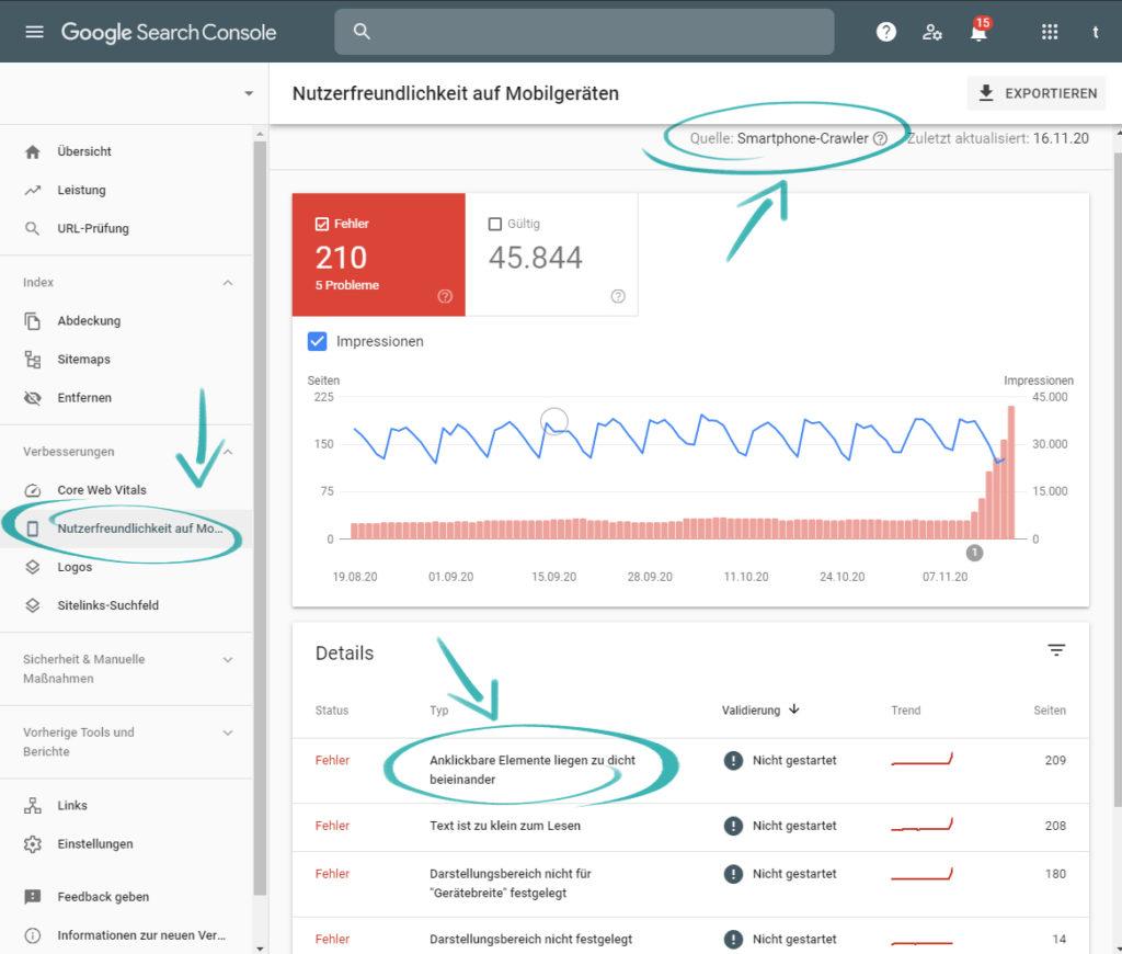 Die Search-Console von Google verrät Ihnen, welche Crawler Ihre Website besucht haben, und gibt Hinweise zur Nutzerfreundlichkeit auf Mobilgeräten.