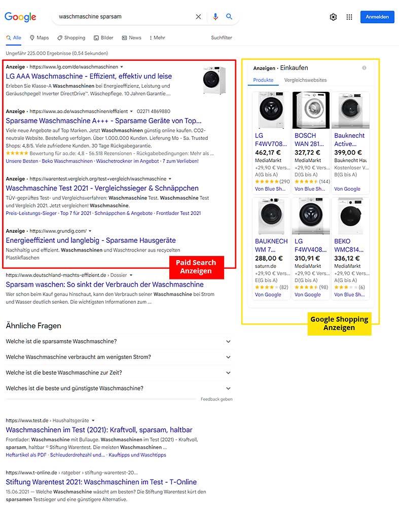 Screenshot Google-Suche nach Waschmaschine: Bezahlte Anzeigen