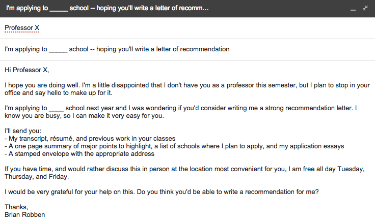how to send a reminder email about a letter of recommendation