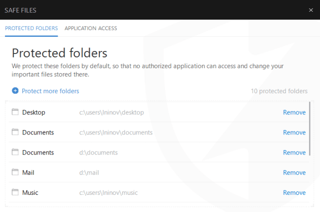 Safe Files feature on Bitdefender device software.