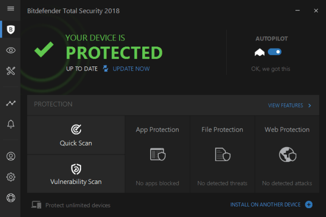 The Bitdefender Total Security 2018 software.