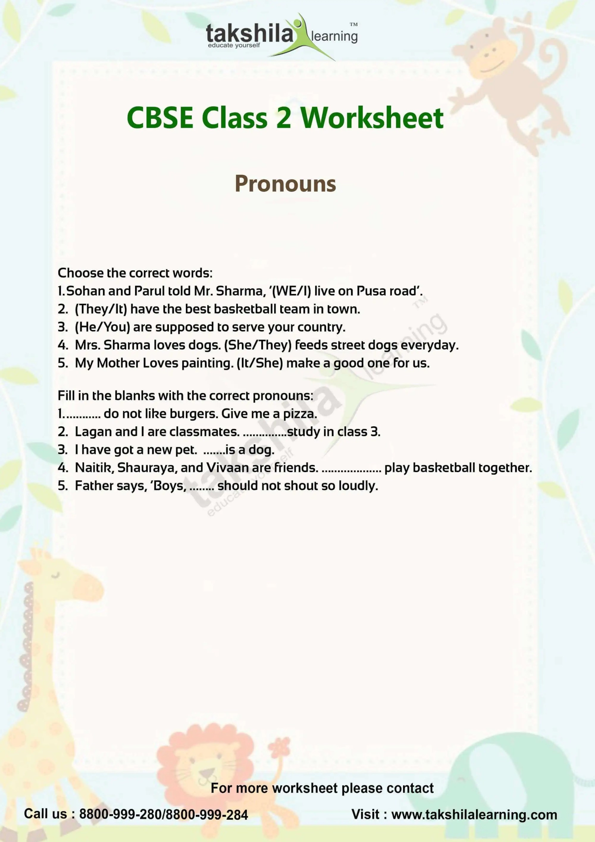 hight resolution of CBSE Class 2 English Worksheets for Pronoun \u0026 Video classes