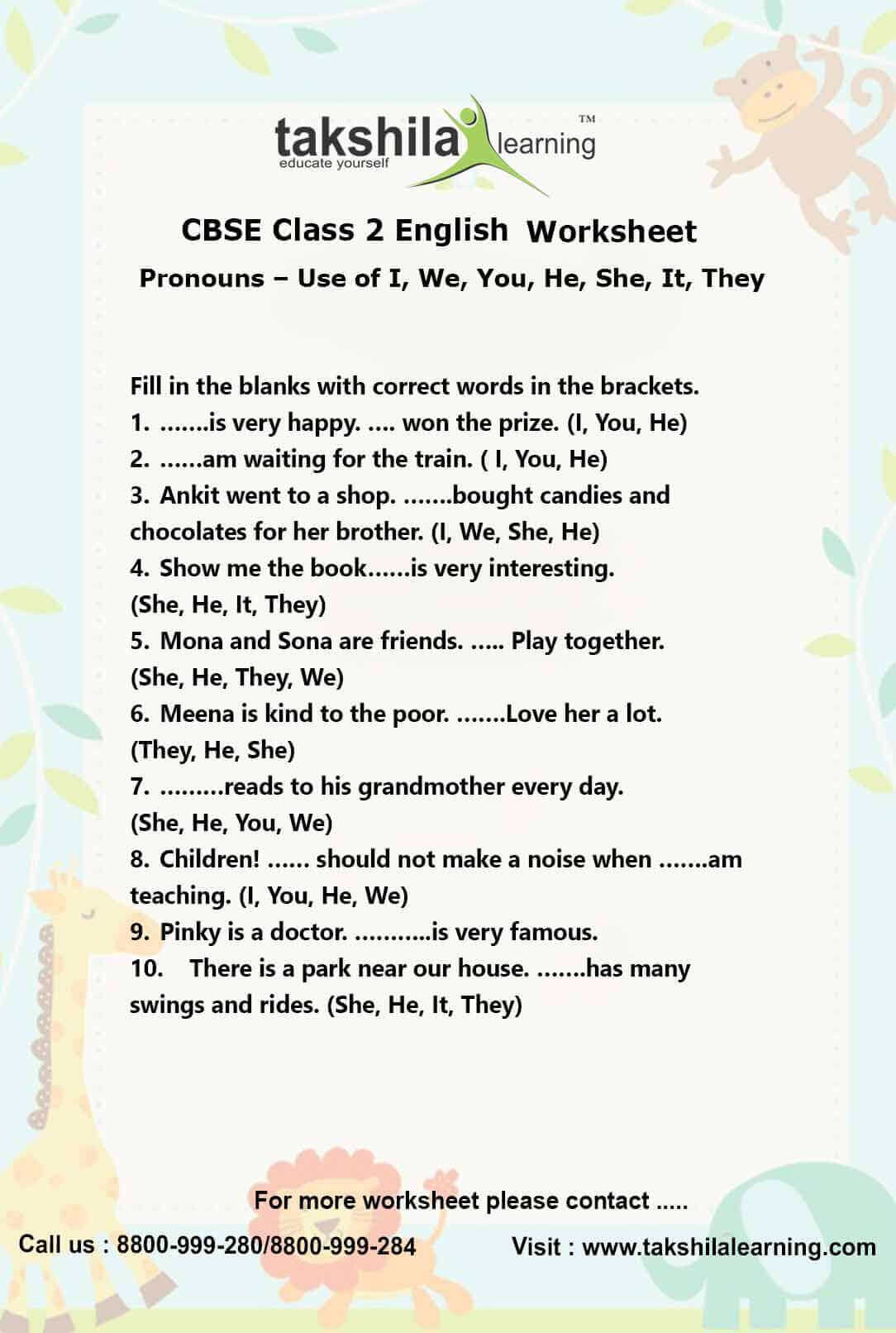 English Worksheet For Grade 1 Cbse