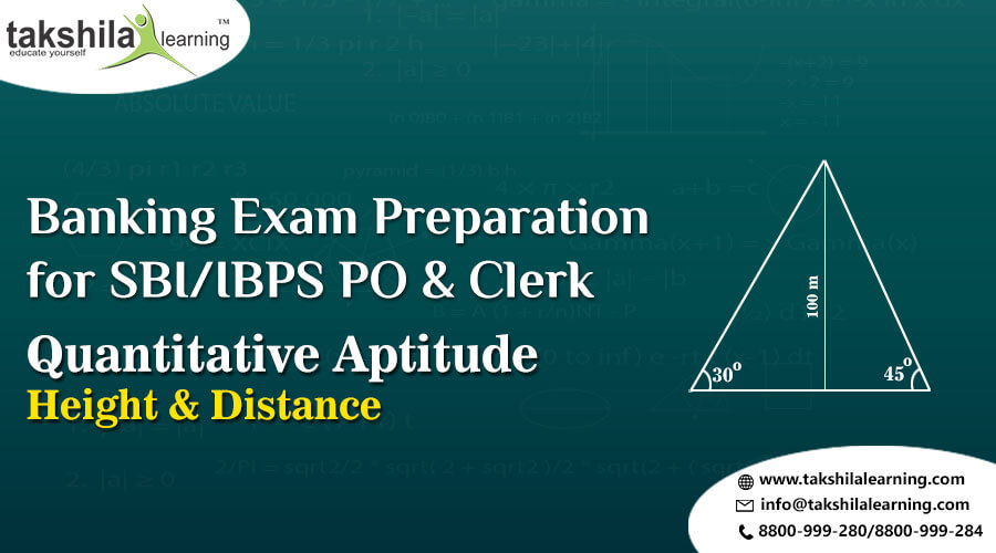 Quantitative Aptitude HEIGHT & DISTANCE for SBI CLERK & PO