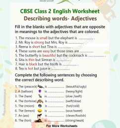 Adjectives Practice Worksheet for Class 2 English Grammar – Adjectives [ 1500 x 1240 Pixel ]