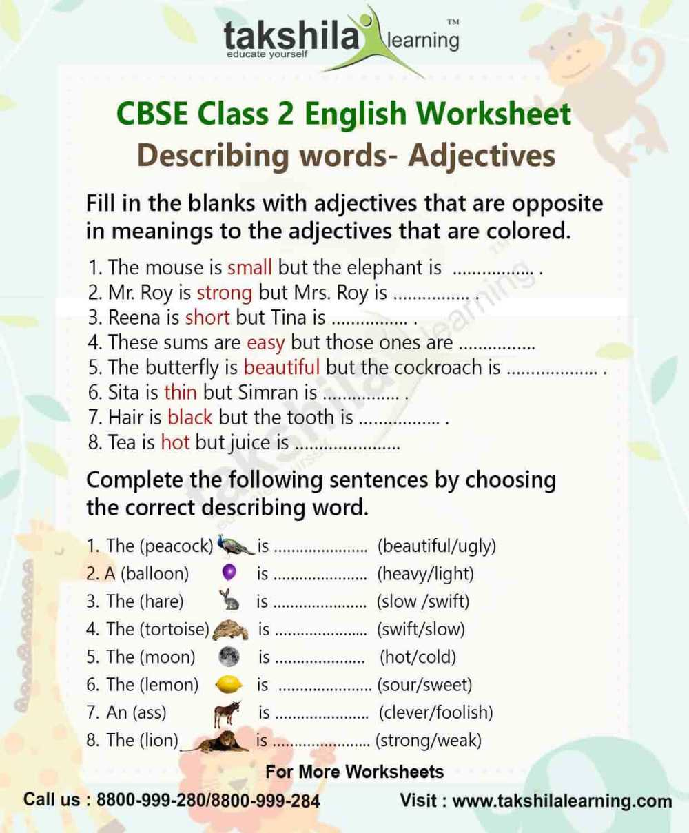 medium resolution of Adjectives Practice Worksheet for Class 2 English Grammar – Adjectives