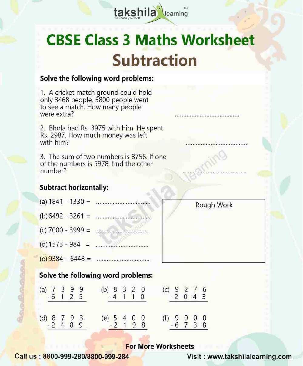 medium resolution of Class 3 Maths Worksheet for Practice- Subtraction