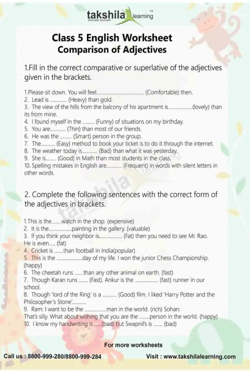 small resolution of Class 5 English Worksheet Comparison of Adjectives   English Grammar