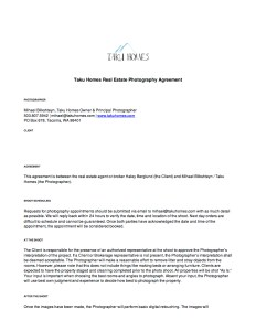 Taku Homes Photography Agreement 1/2