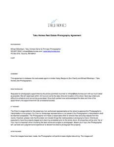 Taku Homes Photography Agreement 1/2