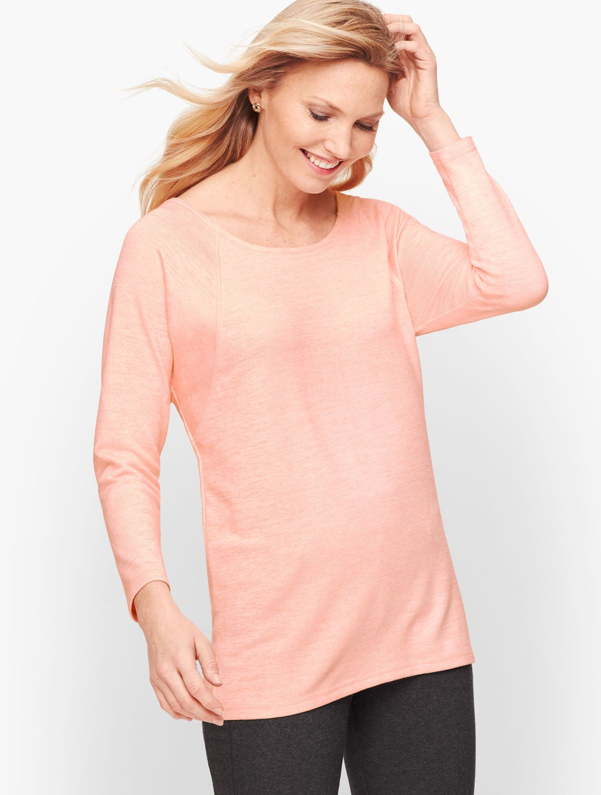 Twist Back Heathered Pullover