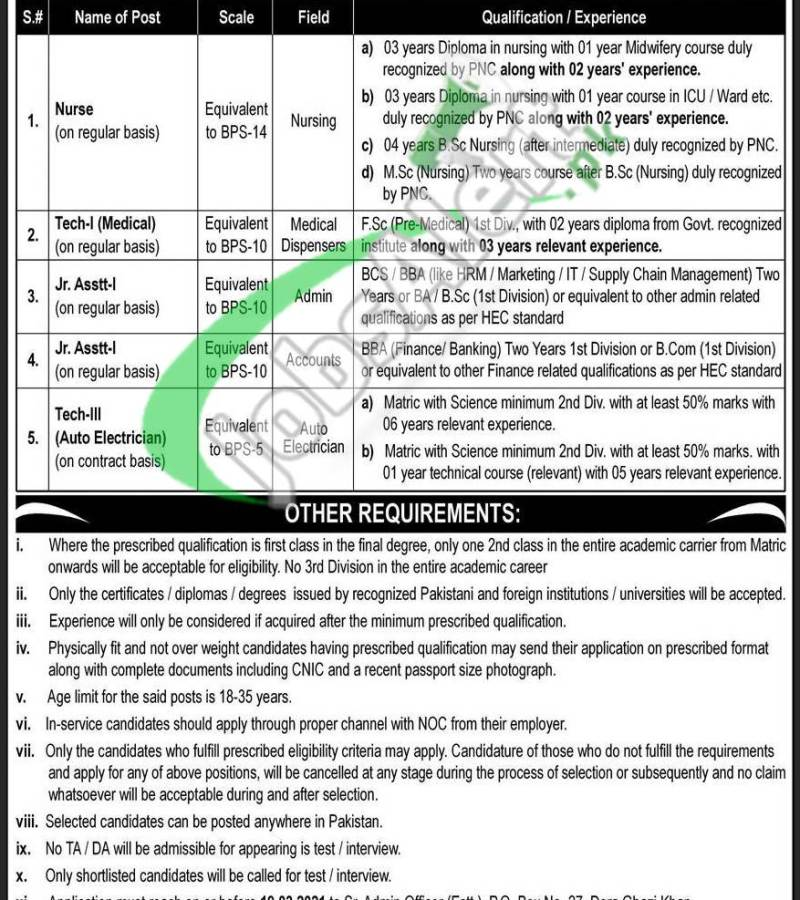 PAEC Jobs March 2021 Atomic Energy PO Box 27 DG Khan Application Form Download