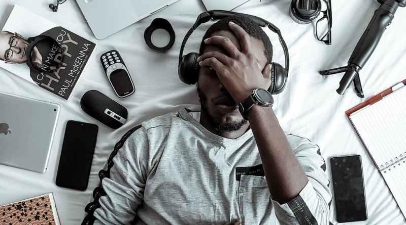 man wearing black headset