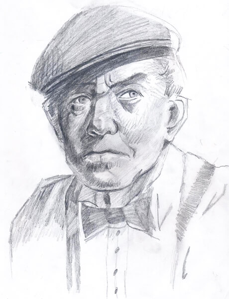Pencil drawing of a western man