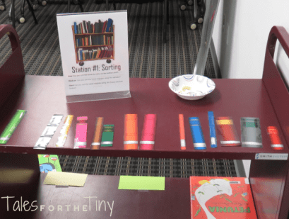 Mini Masters of Library Science - The sorting station had 3 levels of difficulty (color, alphabet, and Dewey) - talesforthetiny.com