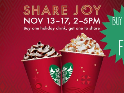 *Starbucks* Buy 1 Get 1 Free Holiday Drink!