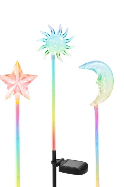 Solar Powered Star, Moon & Sun Garden Stake Light with Color Changing LEDs